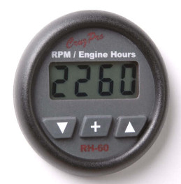CruzPro Digital 55 mm RPM Meter, Engine Hour Meter and Elapsed Time Meter. ROUND BEZEL - RH60