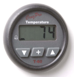 CruzPro Digital 55 mm Water Temperature Gauge. ROUND BEZEL - T60
