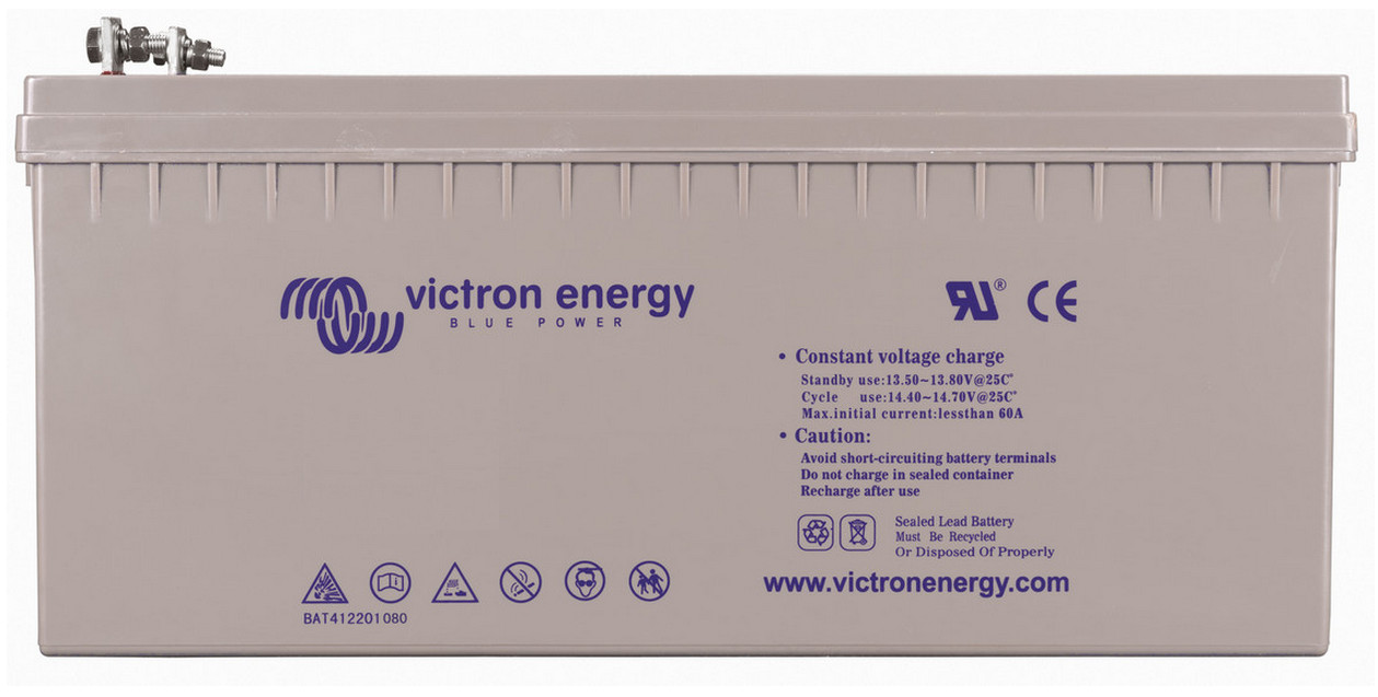 Victron 12V GEL deep cycle battery - 200 ah @ C10, 220 ah @ C20
