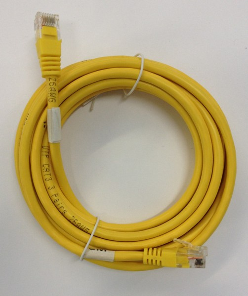 RJ12 moulded patch cable yellow 300mm