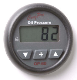 CruzPro Digital 55 mm Oil Pressure Gauge. ROUND BEZEL - OP60