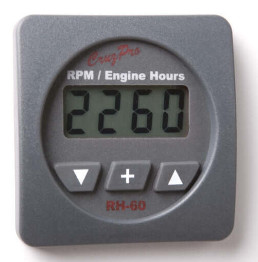 CruzPro Digital 55 mm RPM Meter, Engine Hour Meter and Elapsed Time Meter. SQUARE BEZEL - RH60