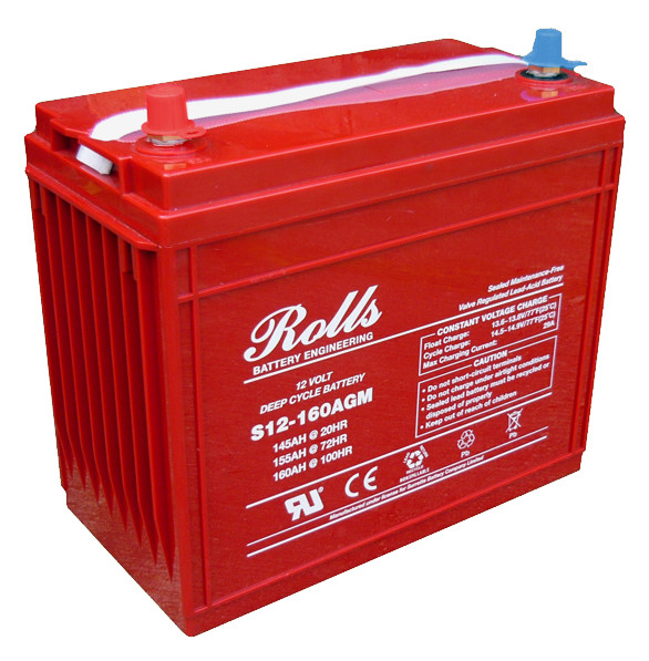 Battery - Rolls AGM- 12V 145AH (20hr).  M8 terminals. L341mm x W172mm x H287mm. Weight 44.3kg. S12-160AGM