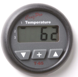 CruzPro Digital 55 mm Temperature Gauge. ROUND BEZEL - T65