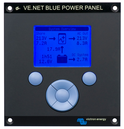 VE.Net Blue Power Panel with integrated VE.Bus connectivity. (Aluminium surround)