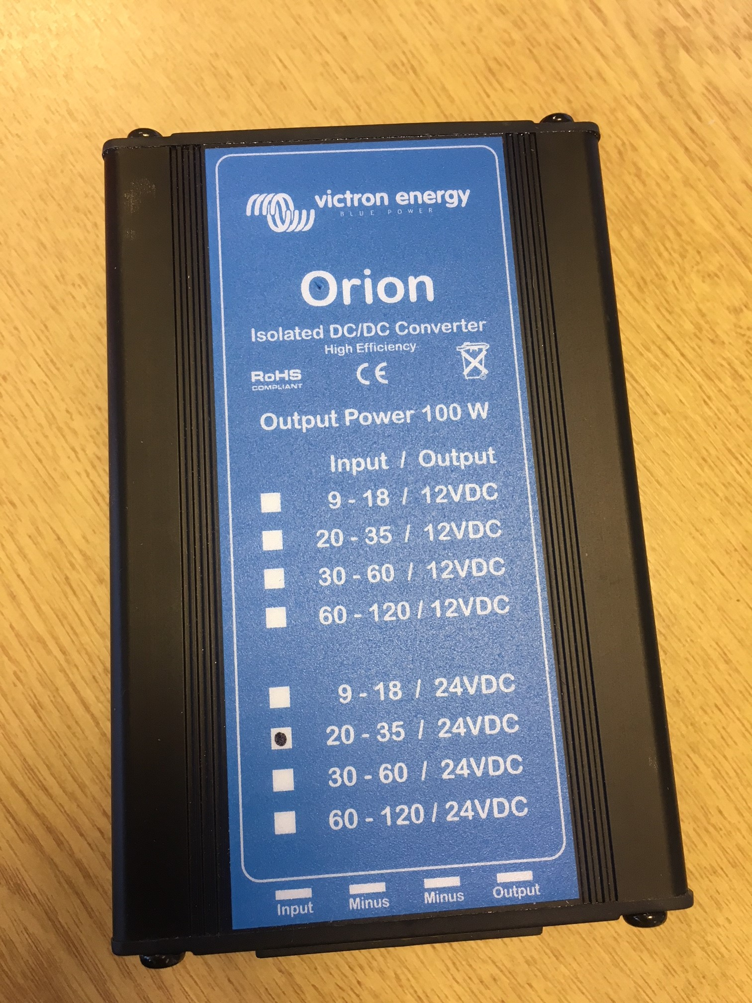 Victron Orion DC-DC converter. 24v input,  24v output. 100W. Isolated ground version. (ORI242410100)
