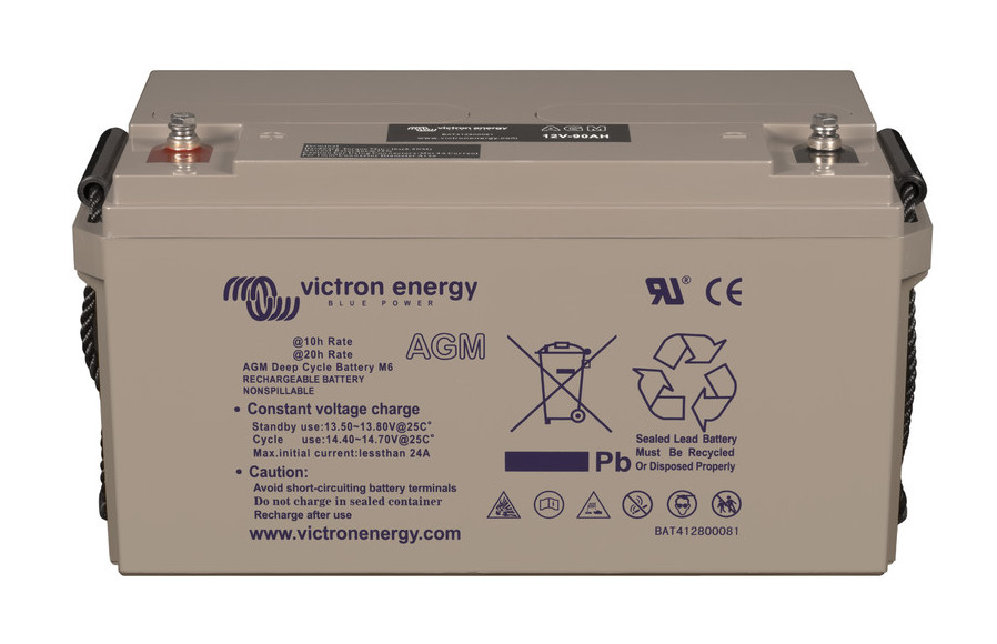 Victron 12V AGM deep cycle battery - 100 ah @ C10, 110 ah @C20 - M8 insert style terminal