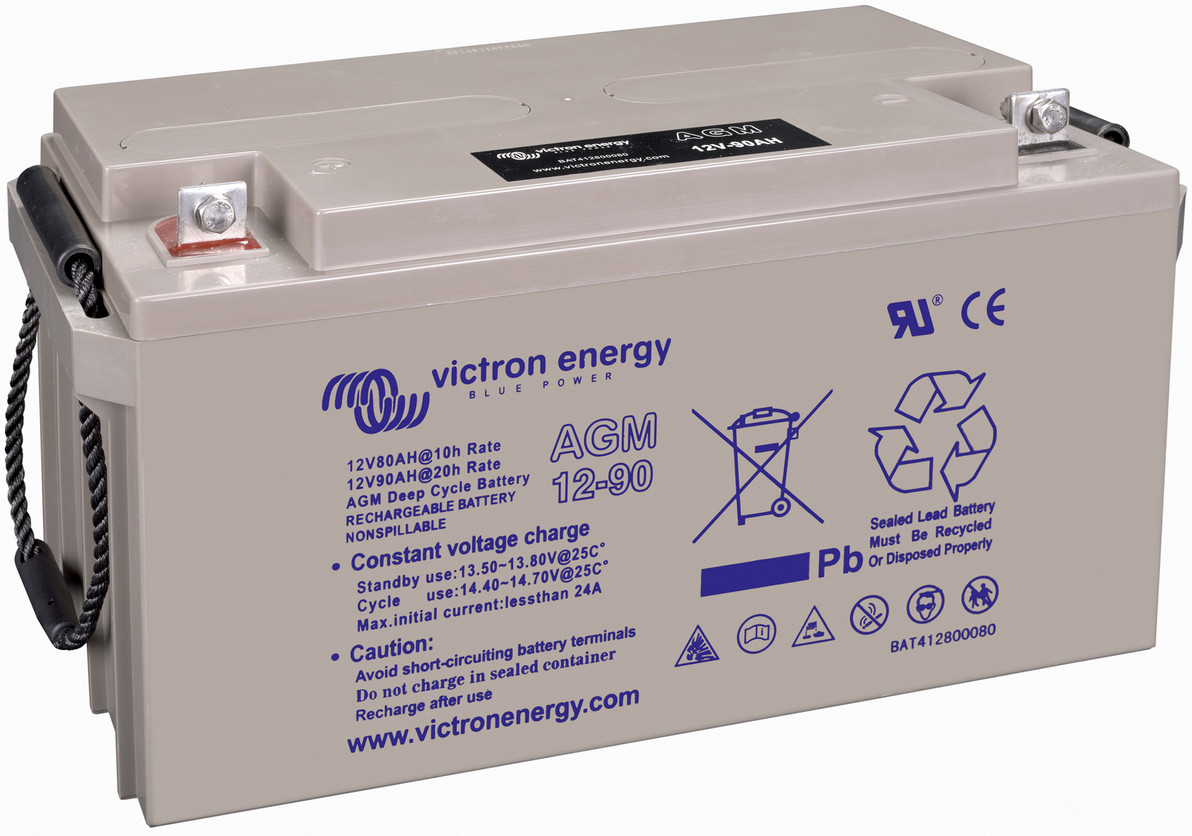 Victron 12V AGM deep cycle battery - 80 ah @ C10, 90 ah @C20