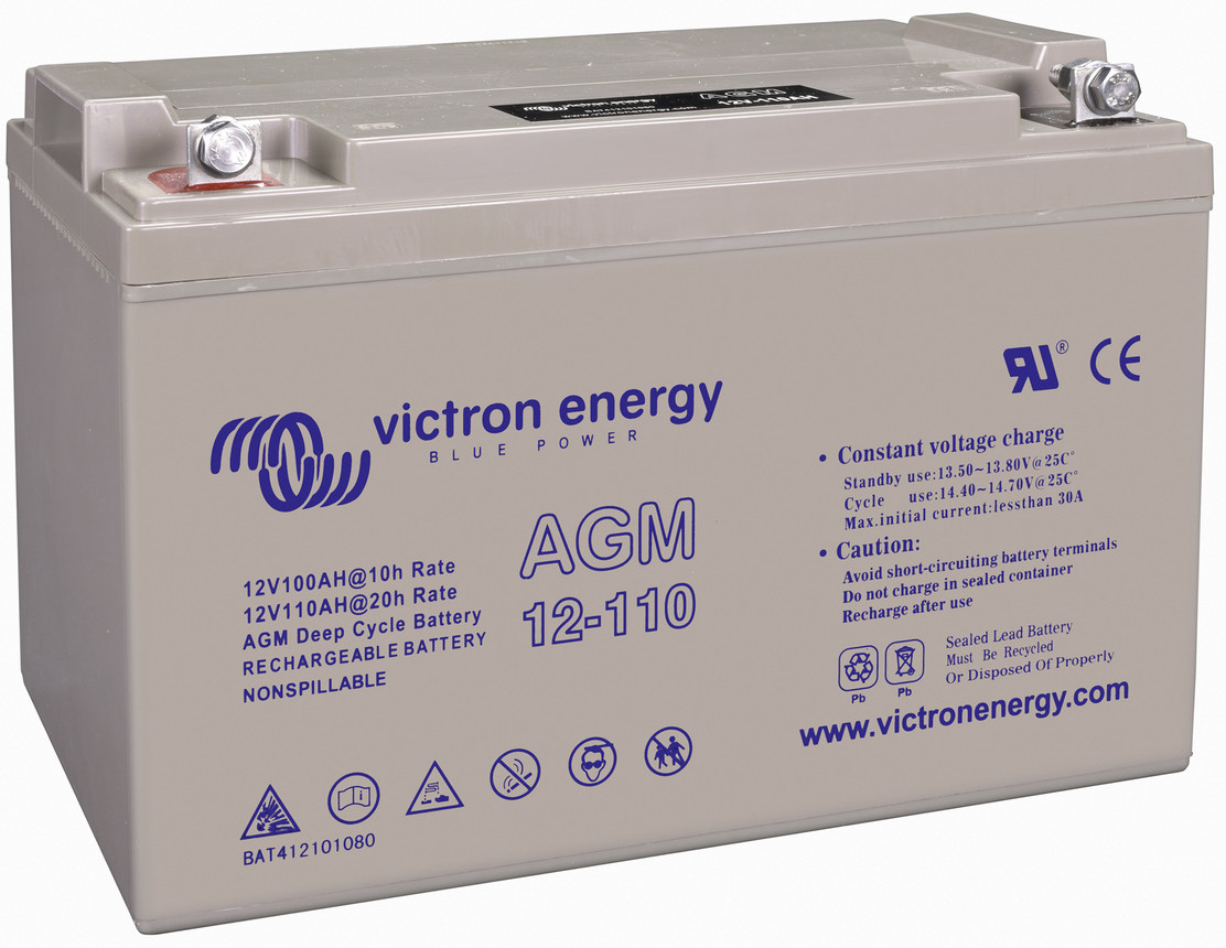 Victron 12V AGM deep cycle battery - 100 ah @ C10, 110 ah @C20