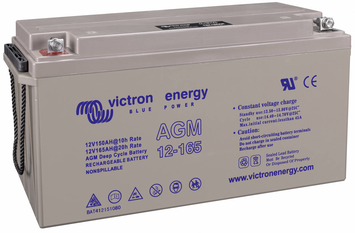 Victron 12V AGM deep cycle battery - 150 ah @ C10, 165 ah @ C20