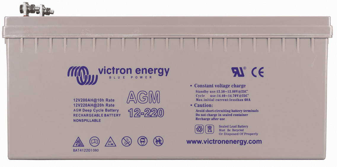 Victron 12V AGM deep cycle battery - 200 ah @ C10, 220 ah @ C20