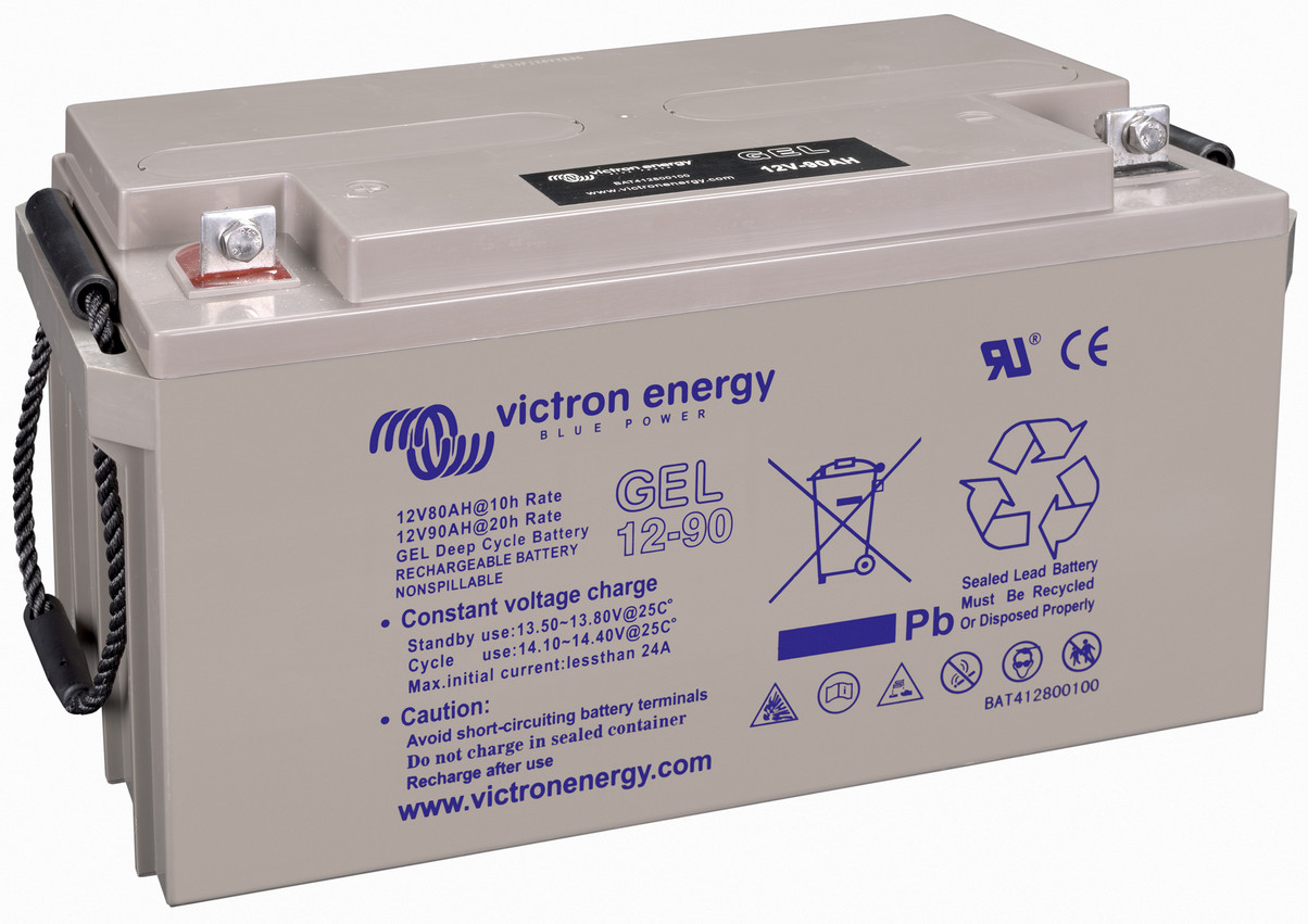 Victron 12V GEL deep cycle battery - 80 ah @ C10, 90 ah @ C20