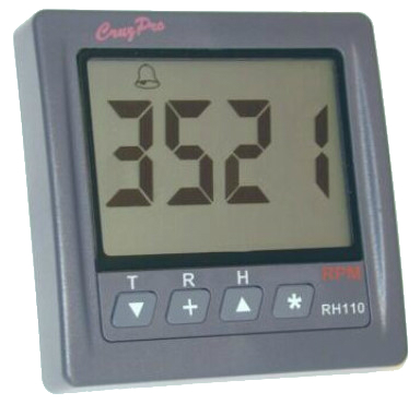 CruzPro Digital 55 mm RPM Meter, Engine Hour Meter and Elapsed Time Meter - RH110